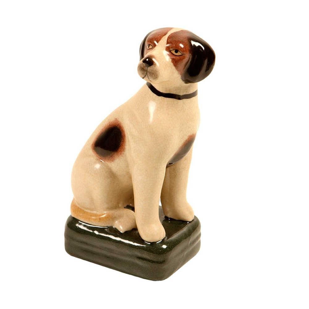 Estatueta de Cachorro Pintado Sentado com Coleira Preta em Porcelana - 21x11 cm