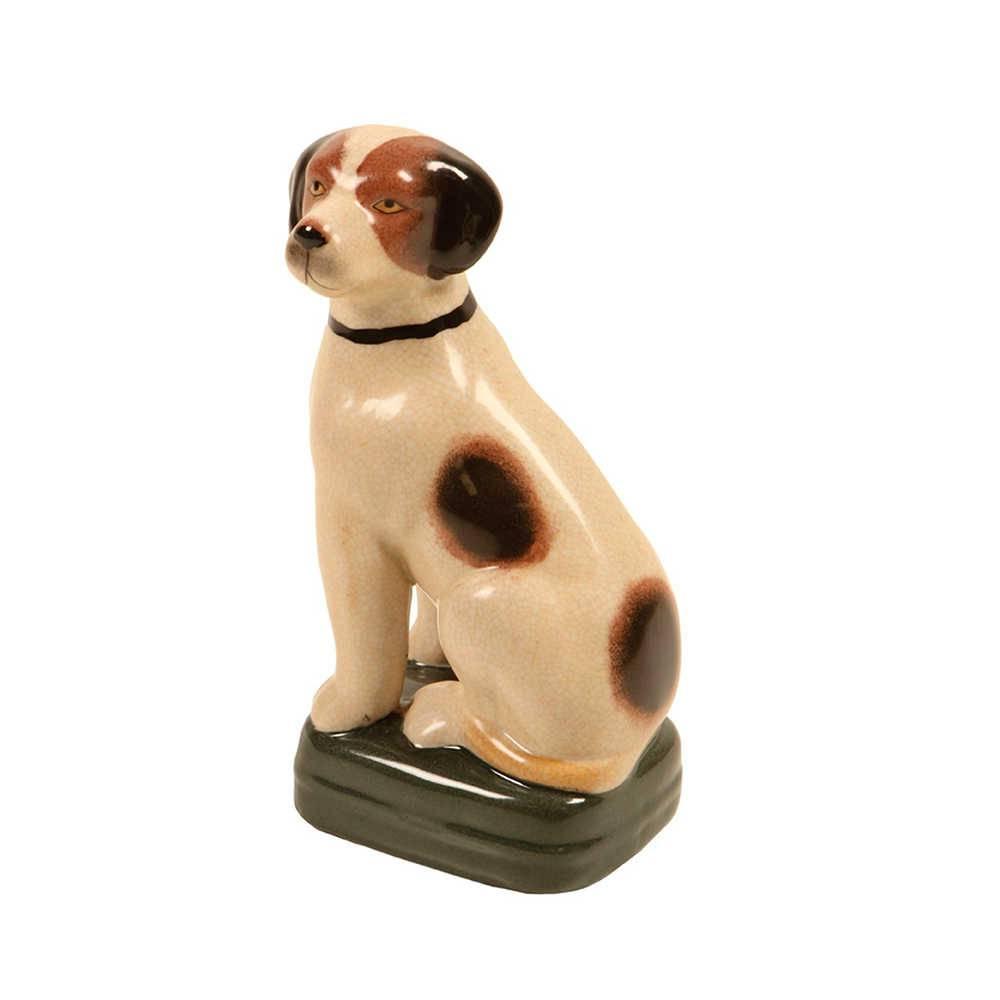 Estatueta de Cachorro com Pintas Preto e Marrom em Porcelana - 21x11 cm