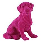 Estatueta Cachorro Rosa em Resina - 20x17 cm