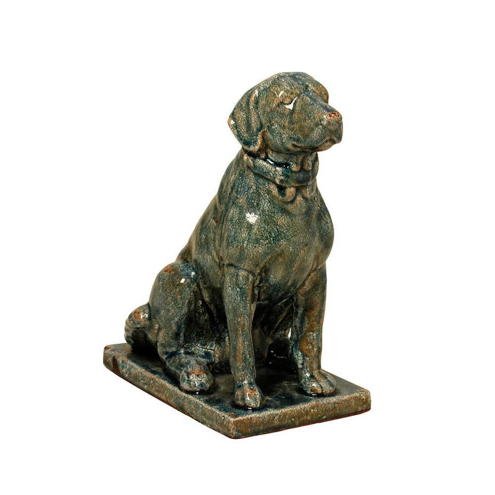 Estatueta de Cachorro Sentado com Base em Porcelana - 32x22 cm