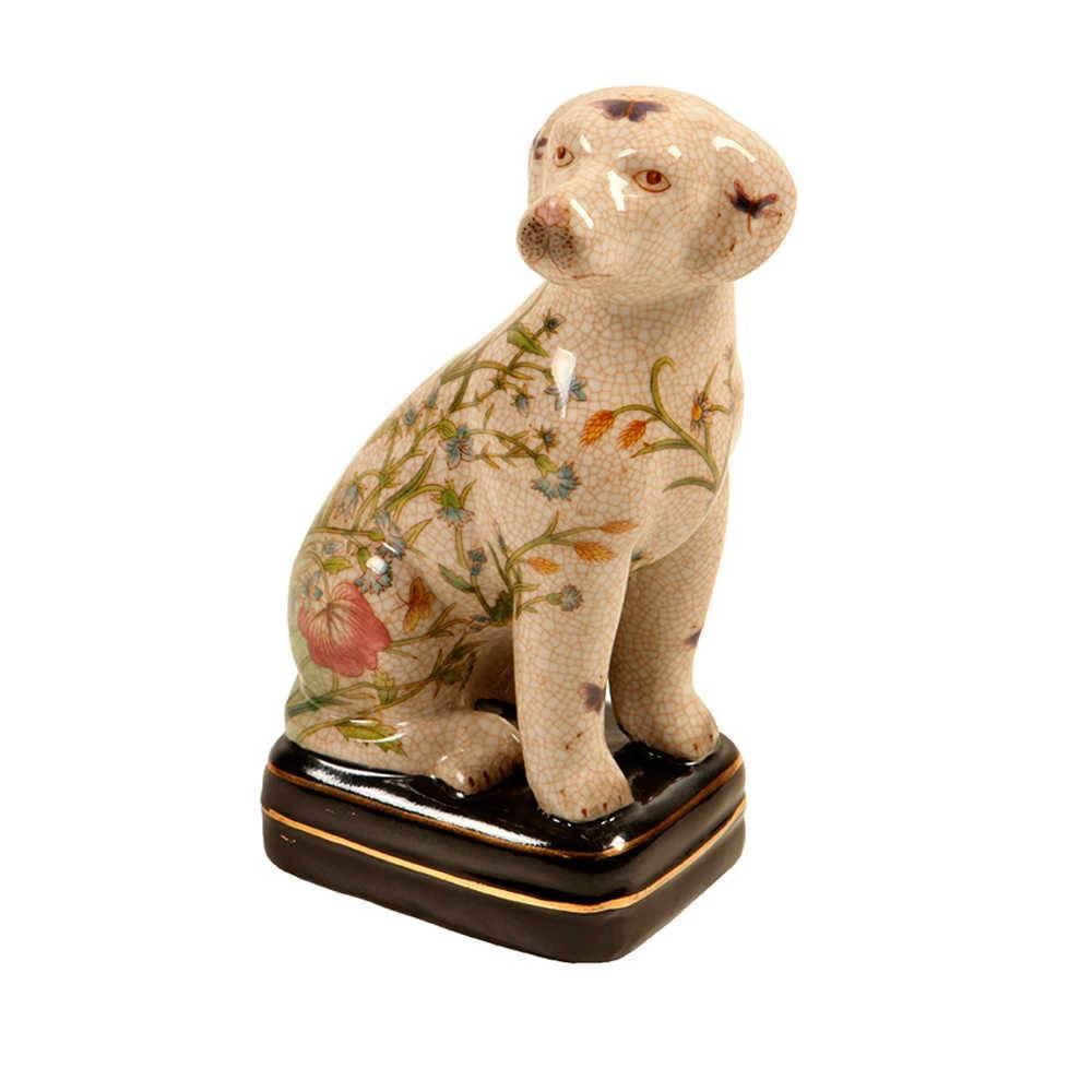 Estatueta de Cachorro Sentado Bege com Flores em Porcelana - 21x11 cm