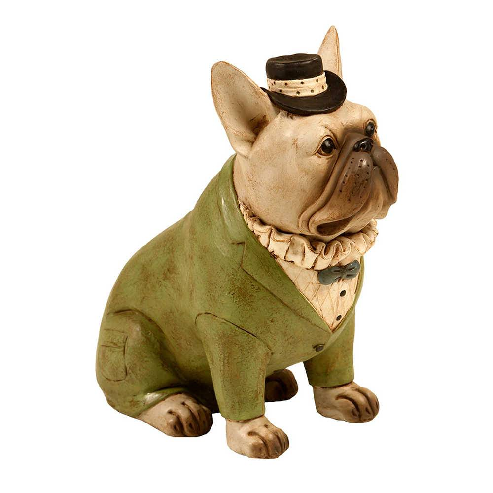 Estatueta de Cachorro Sentado de Chapéu e Palitó Verde em Resina - 24x17 cm