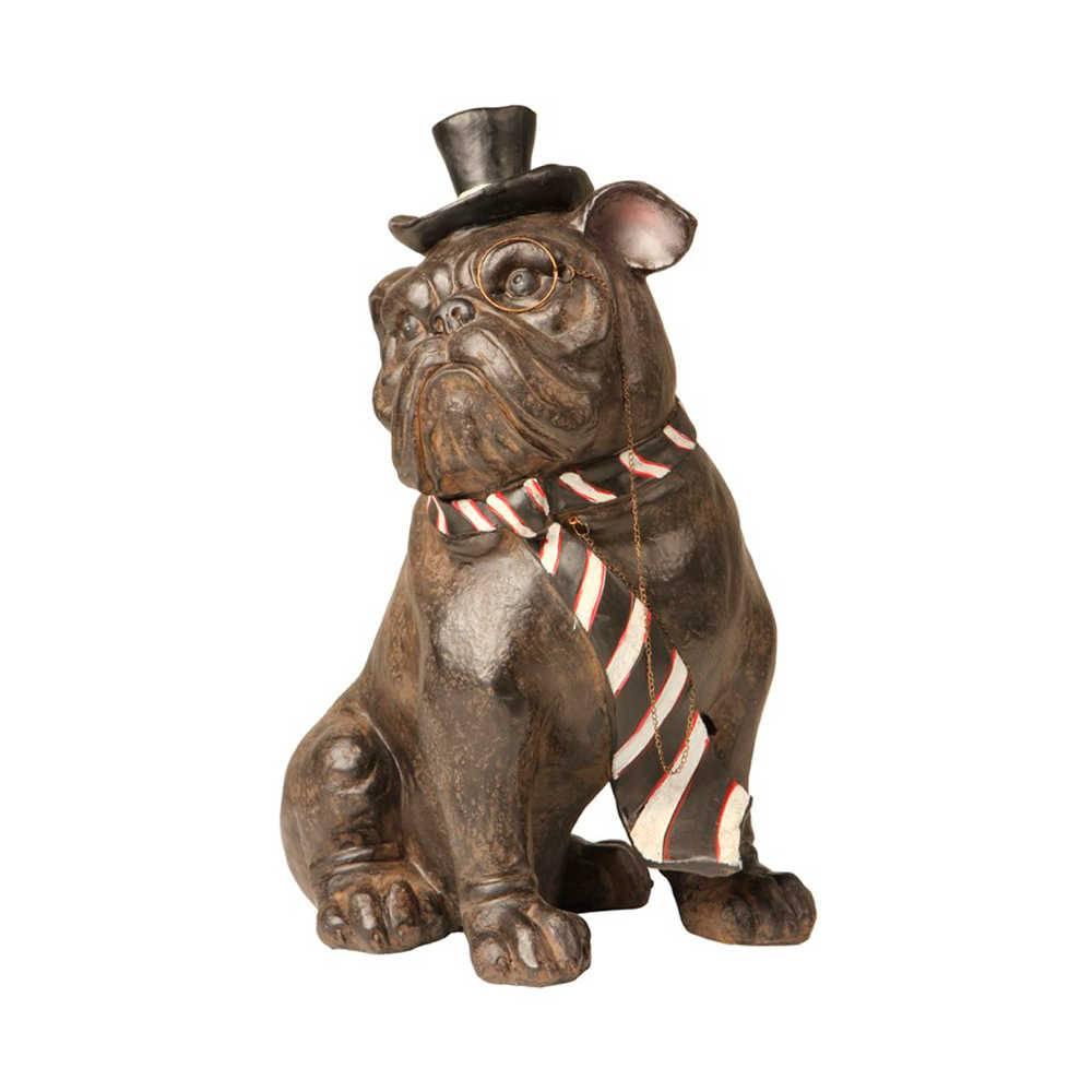 Estatueta de Cachorro Sentado de Gravata Listrada Preta e Branca em Resina - 34x26 cm
