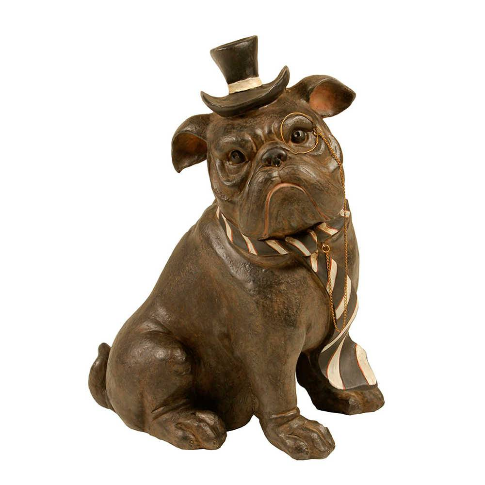 Estatueta de Cachorro Sentado Com Gravata Preta e Branca em Resina - 36x27 cm