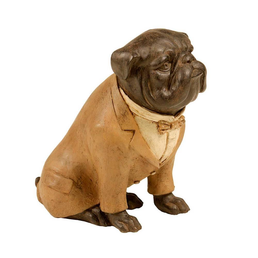 Estatueta de Cachorro Sentado com Palitó Amarelo em Resina - 22x20 cm