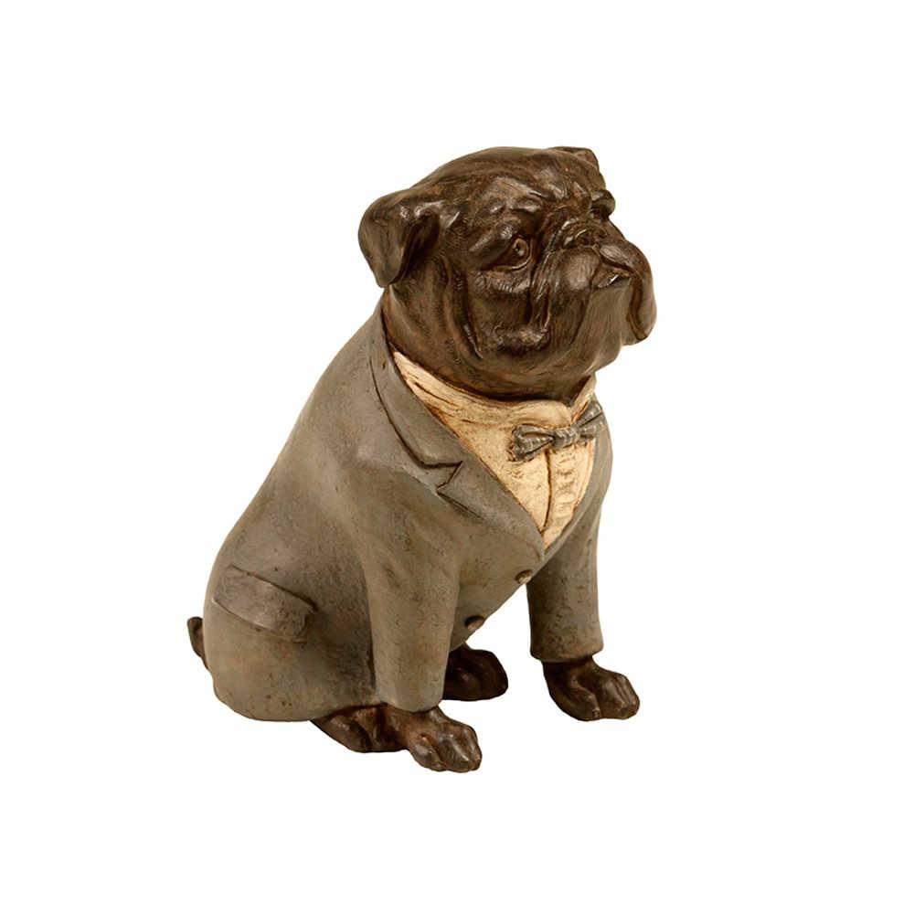 Estatueta de Cachorro Sentado de Palitó Cinza em Resina - 16x16 cm