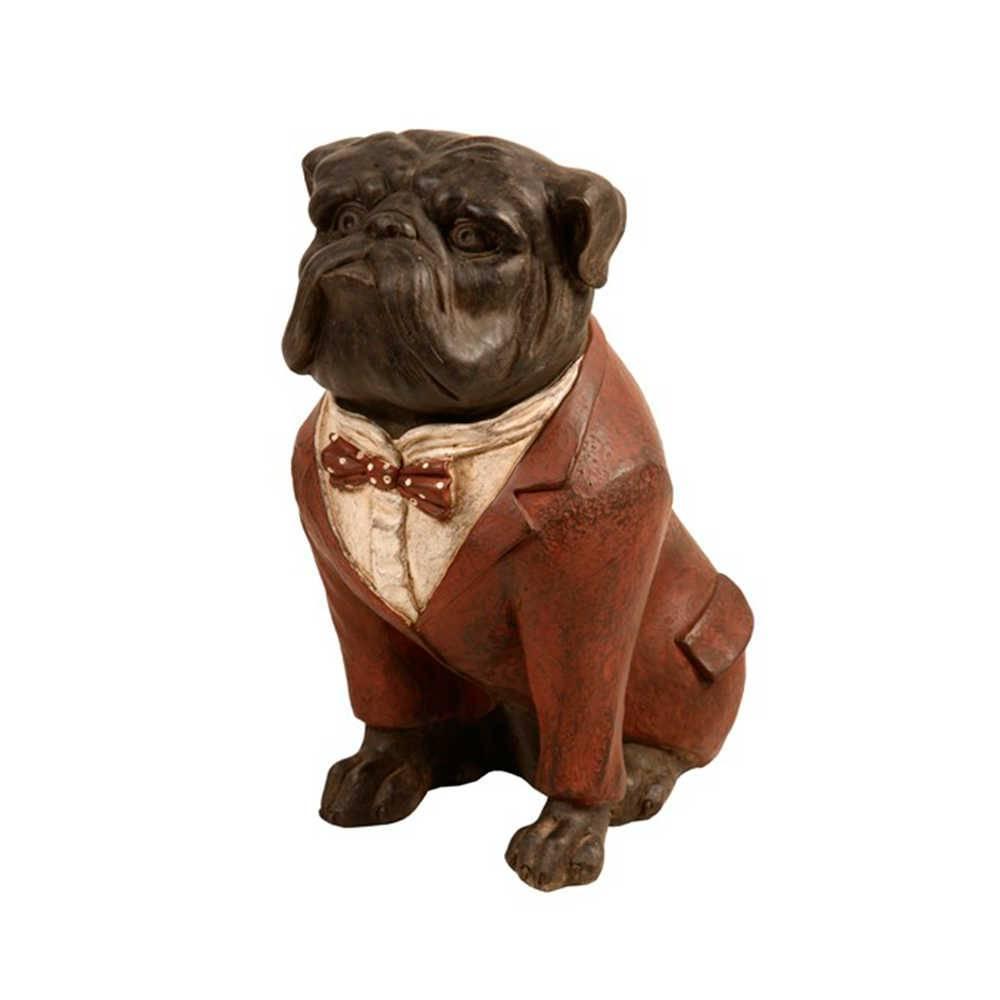 Estatueta de Cachorro Sentado com Palitó Vermelho em Resina - 32x27 cm