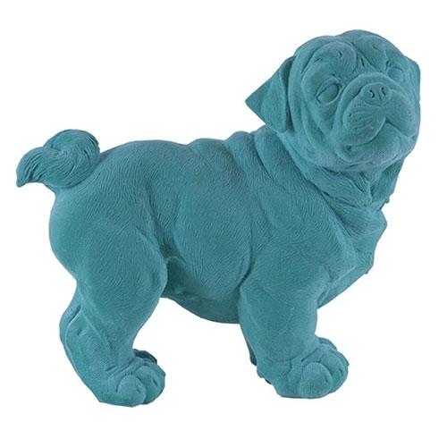 Estatueta Cachorro Turquesa em Resina - 24x23 cm