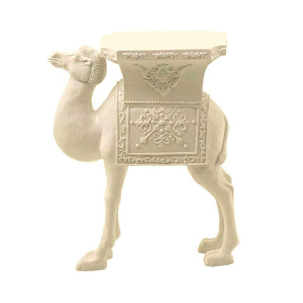 Estatueta Camelo Branco em Resina - 33x25 cm