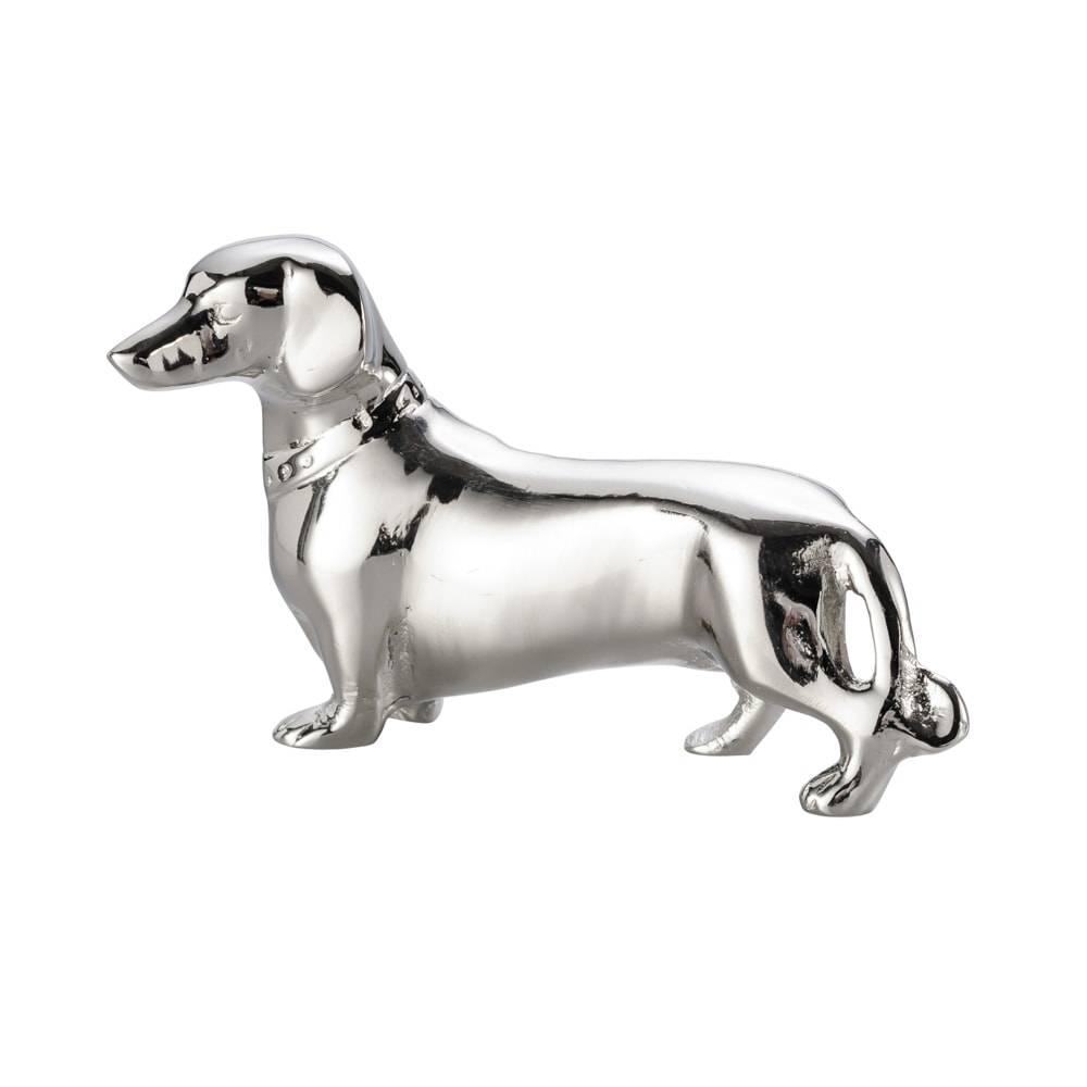 Estatueta Cão Basset em Alumínio Niquelado - Lyor Classic - 15,5x9,5 cm