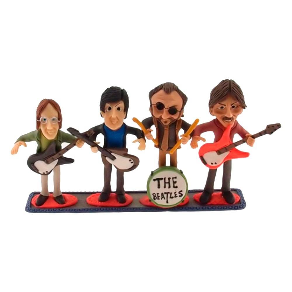 Estatueta Caricatura Banda Beatles em Madeira - 30x19 cm