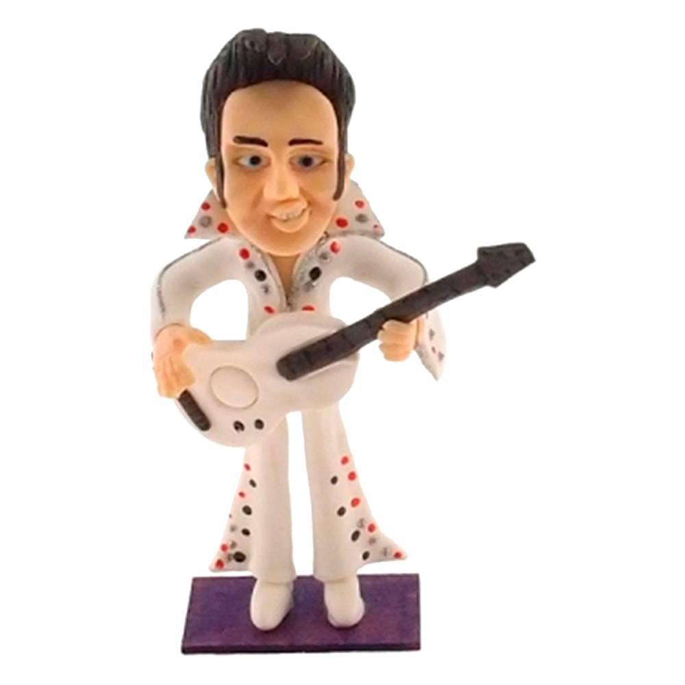 Estatueta Caricatura Elvis Presley em Madeira - 20x10 cm
