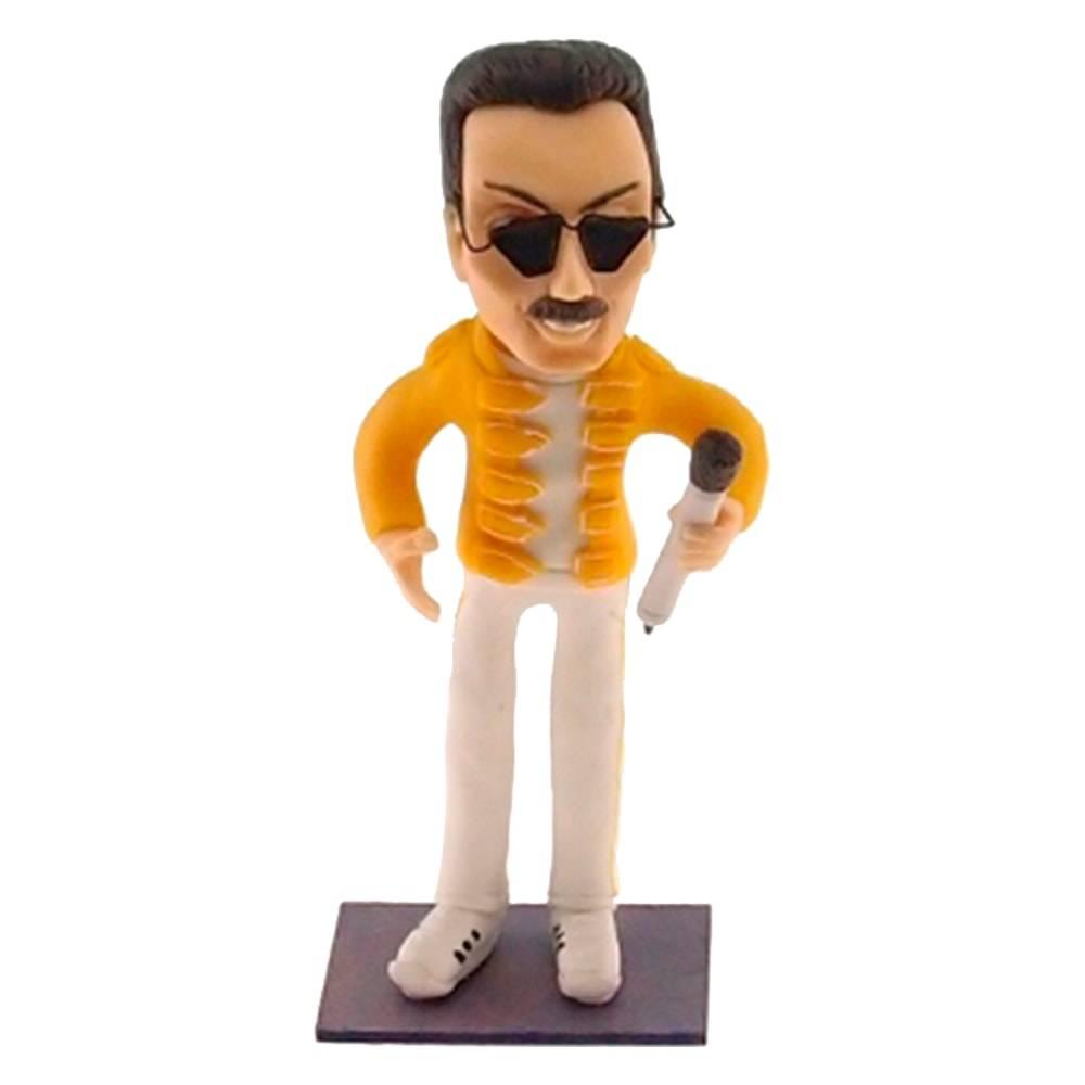 Estatueta Caricatura Freddie Mercury em Madeira - 19x8 cm