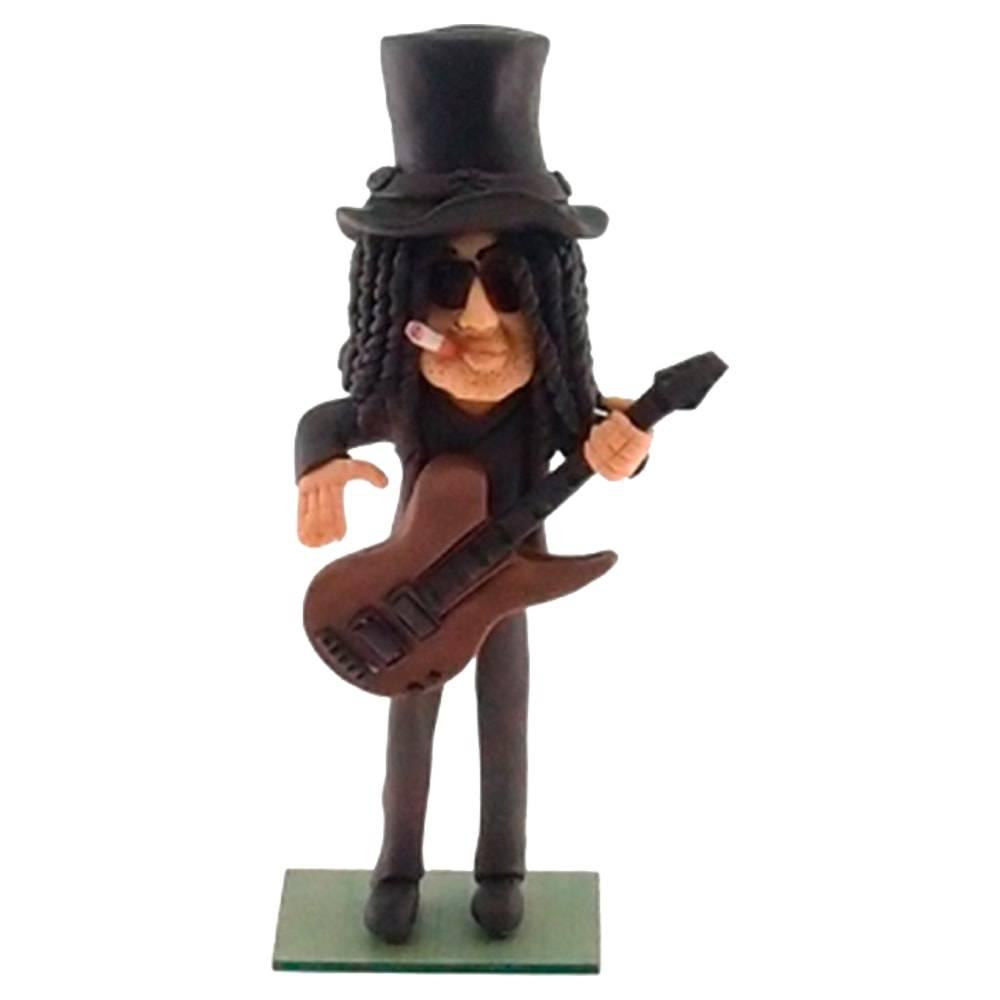 Estatueta Caricatura Slash Guitarrista em Madeira - 22x10 cm