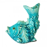 Estatueta Carpa Azul em Cerâmica - 22x18 cm