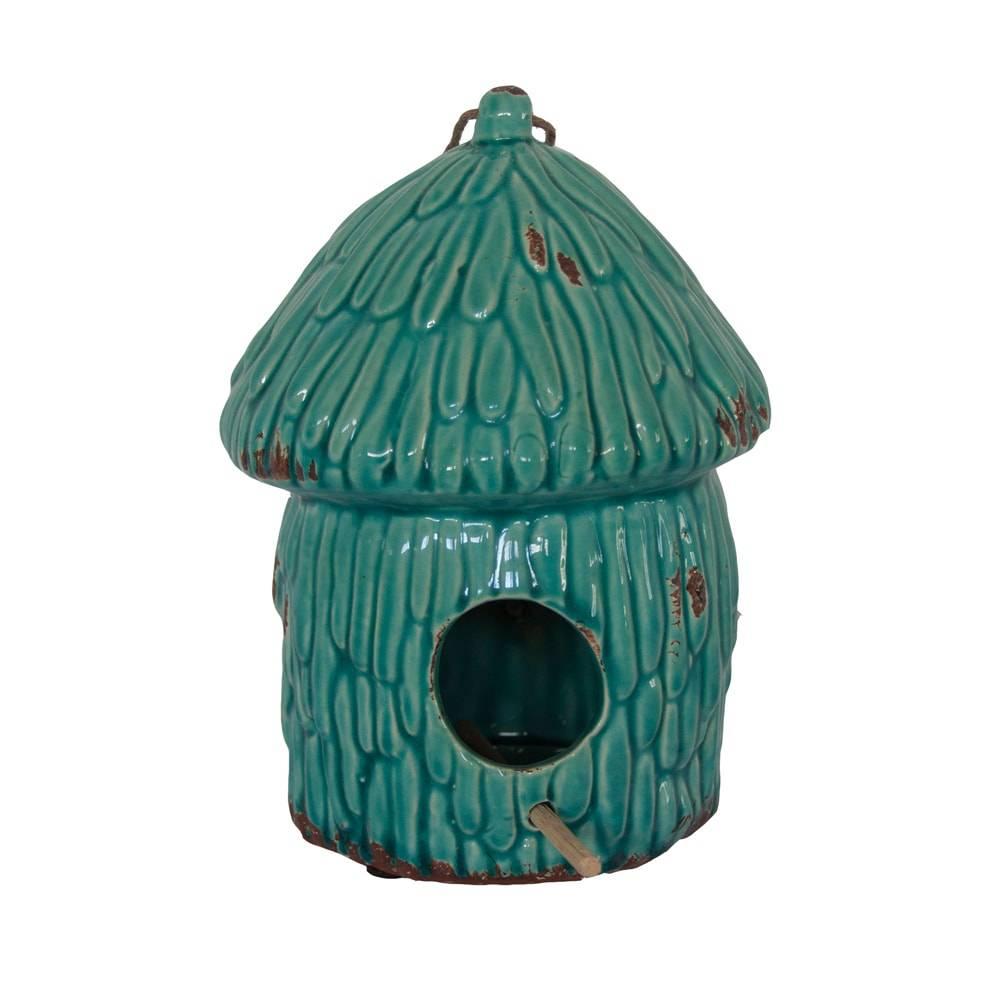 Estatueta Casa de Pássaro Azul em Cerâmica - 22x17 cm