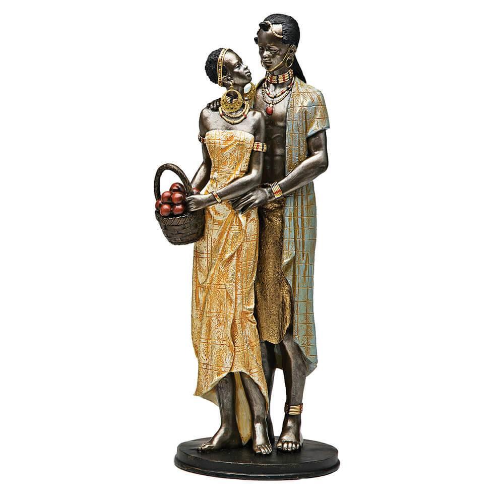 Estátueta Casal Áfricano em Pé - Prestige - 35,5x15,7 cm