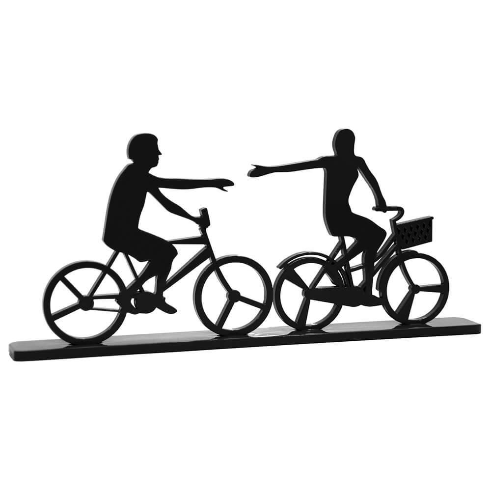 Estatueta Casal de Bicicleta Preto em MDF - 33,8x14,9 cm