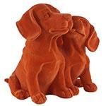 Estatueta Casal de Cães Laranja em Resina - 18x16 cm