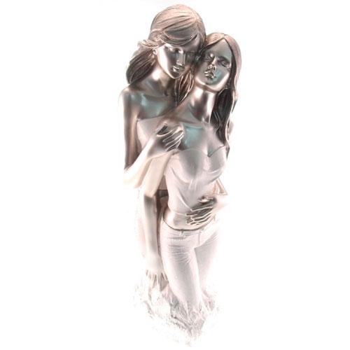 Estatueta Casal de Mulheres Prata em Resina - 39x12 cm