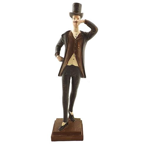 Estatueta Cavalheiro de Chapéu numa plataforma em Resina - 38x9cm