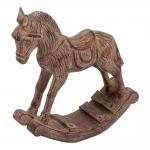 Estatueta Cavalo de Balanço Marrom em Resina - 20x18,5 cm