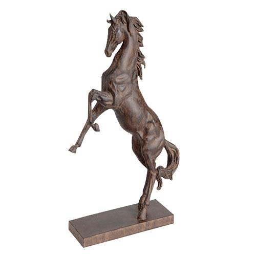 Estatueta Cavalo Marrom em Pé em Resina - 41x32 cm