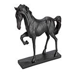 Estatueta Cavalo Trotting Preto em Resina