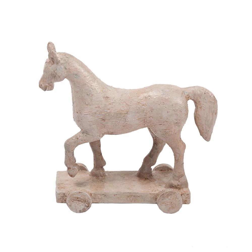 Estatueta Cavalo/Horse Branco Marchador em Resina - 17x16,5 cm