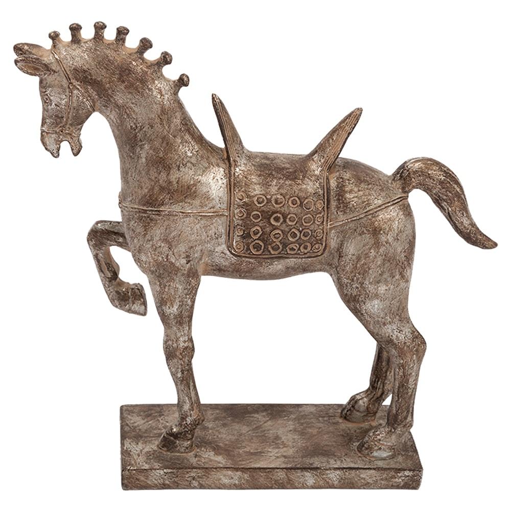 Estatueta Cavalo/Horse Marchador Prata em Resina - 24,5x24,5 cm