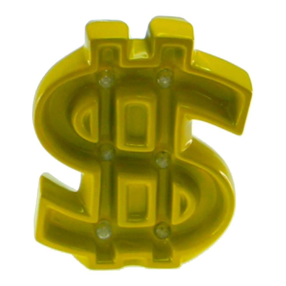 Estatueta Cifrão com Luzes de Led Embutidas Amarela em Cerâmica - 24x19 cm