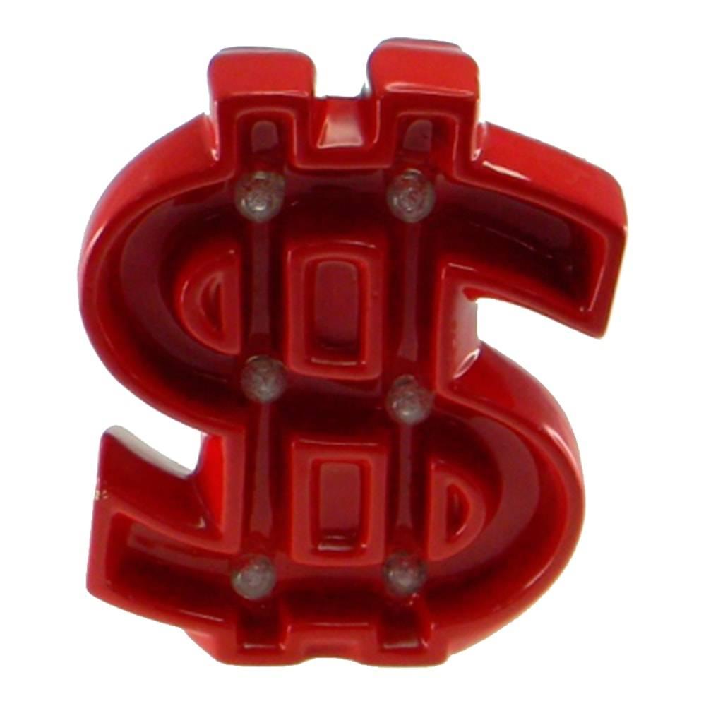 Estatueta Cifrão com Luzes de Led Embutidas Vermelha em Cerâmica - 24x19 cm