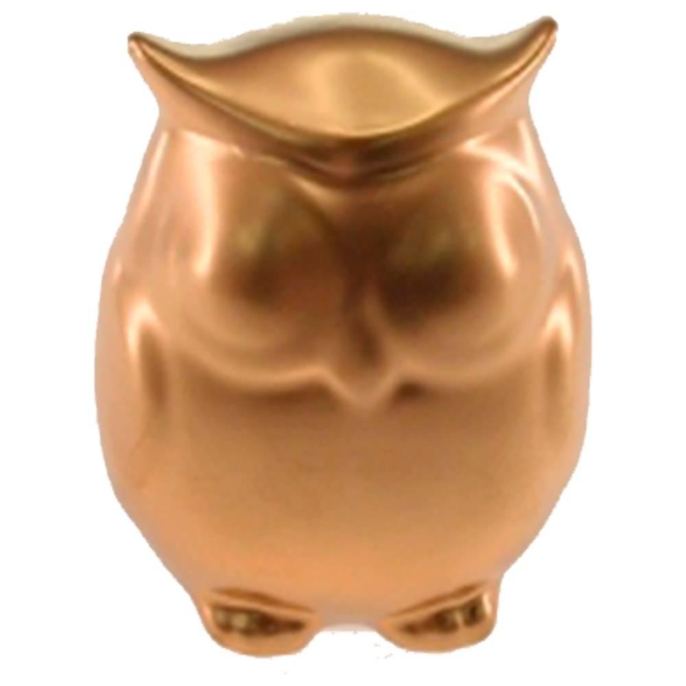 Estatueta Coruja Dourada em Cerâmica - 12x9 cm