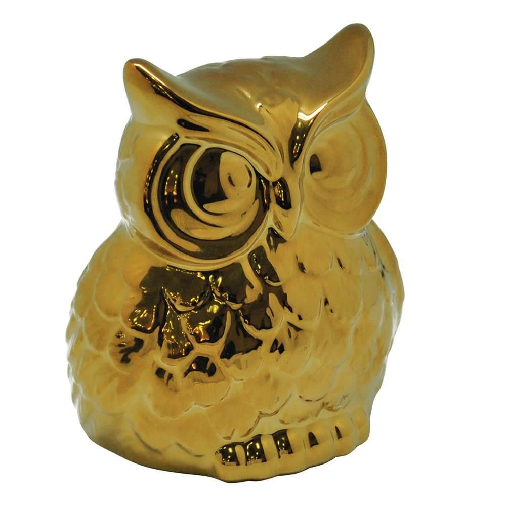 Estatueta Coruja Dourado Pequeno em Cerâmica - Urban - 14x12 cm