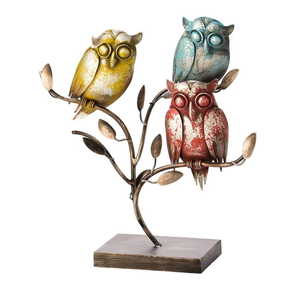 Estatueta Corujas no Galho Colorida em Metal - Lyor Classic - 35,5 cm