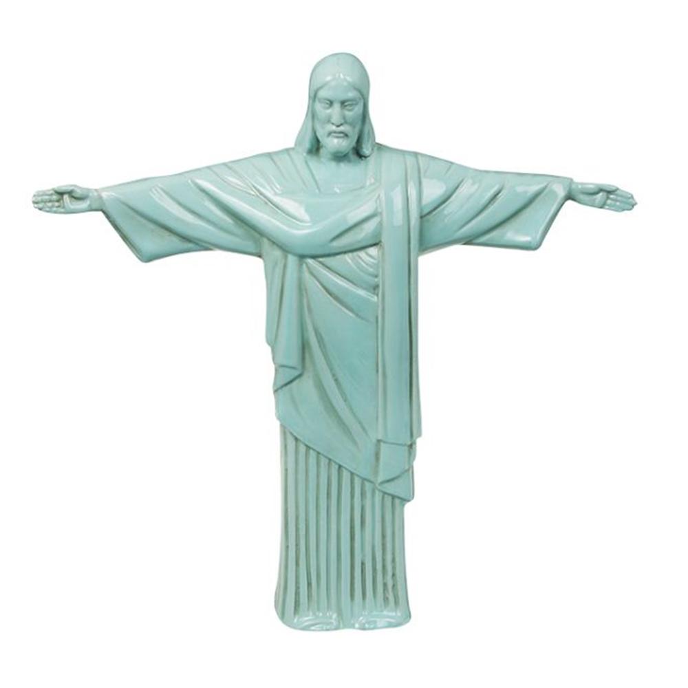 Estatueta Cristo Redentor Verde - Candy Color - em Cerâmica - 41x40 cm