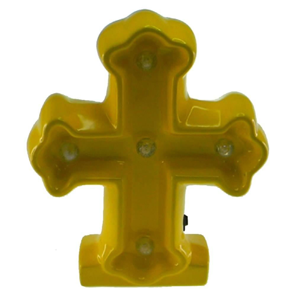 Estatueta Crucifixo c/ Luzes de Led Embutidas Amarela em Cerâmica - 25x20 cm