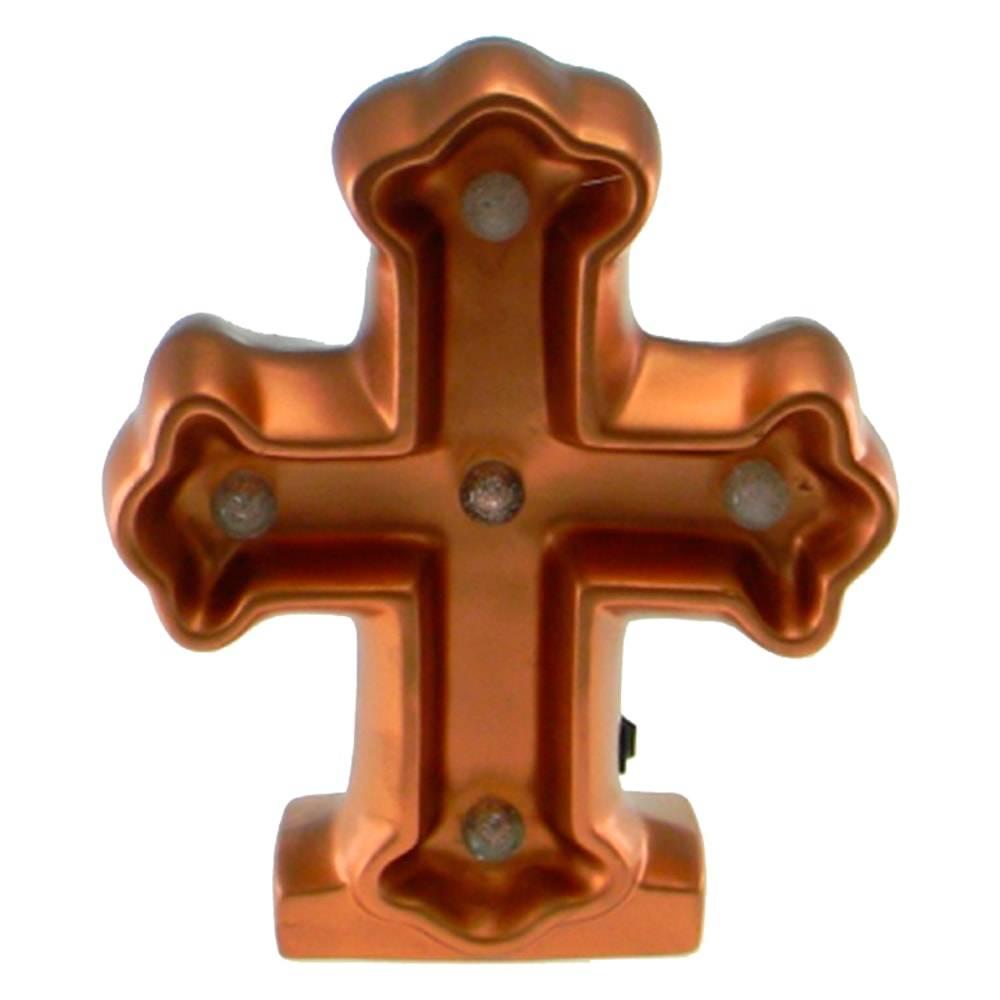 Estatueta Crucifixo c/ Luzes de Led Embutidas Cobre em Cerâmica - 25x20 cm