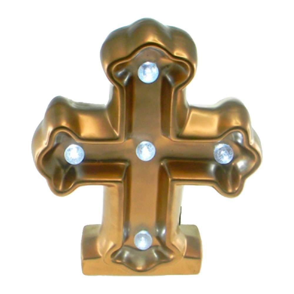 Estatueta Crucifixo c/ Luzes de Led Embutidas Dourado em Cerâmica - 25x20 cm