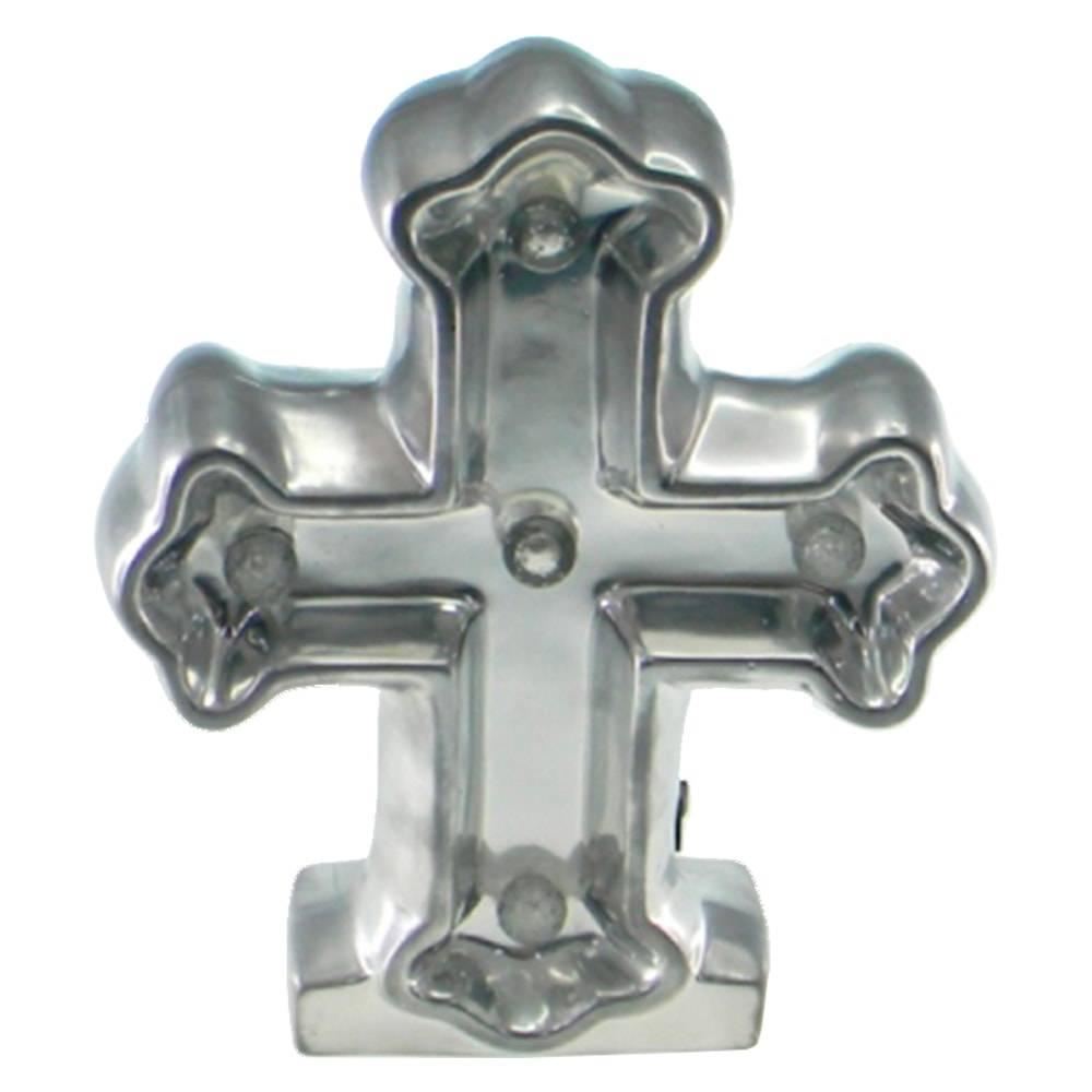 Estatueta Crucifixo c/ Luzes de Led Embutidas Prata em Cerâmica - 25x20 cm