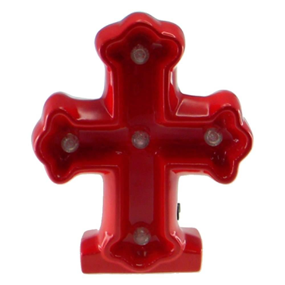 Estatueta Crucifixo c/ Luzes de Led Embutidas Vermelha em Cerâmica - 25x20 cm
