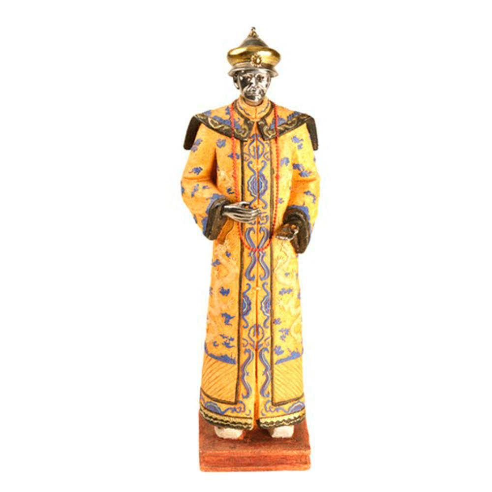 Estatueta Dinastia Qing Traje Amarelo em Resina - 43x16 cm