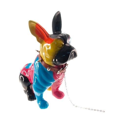 Estatueta Dog Colorido Sentado em Cerâmica - 30x24 cm