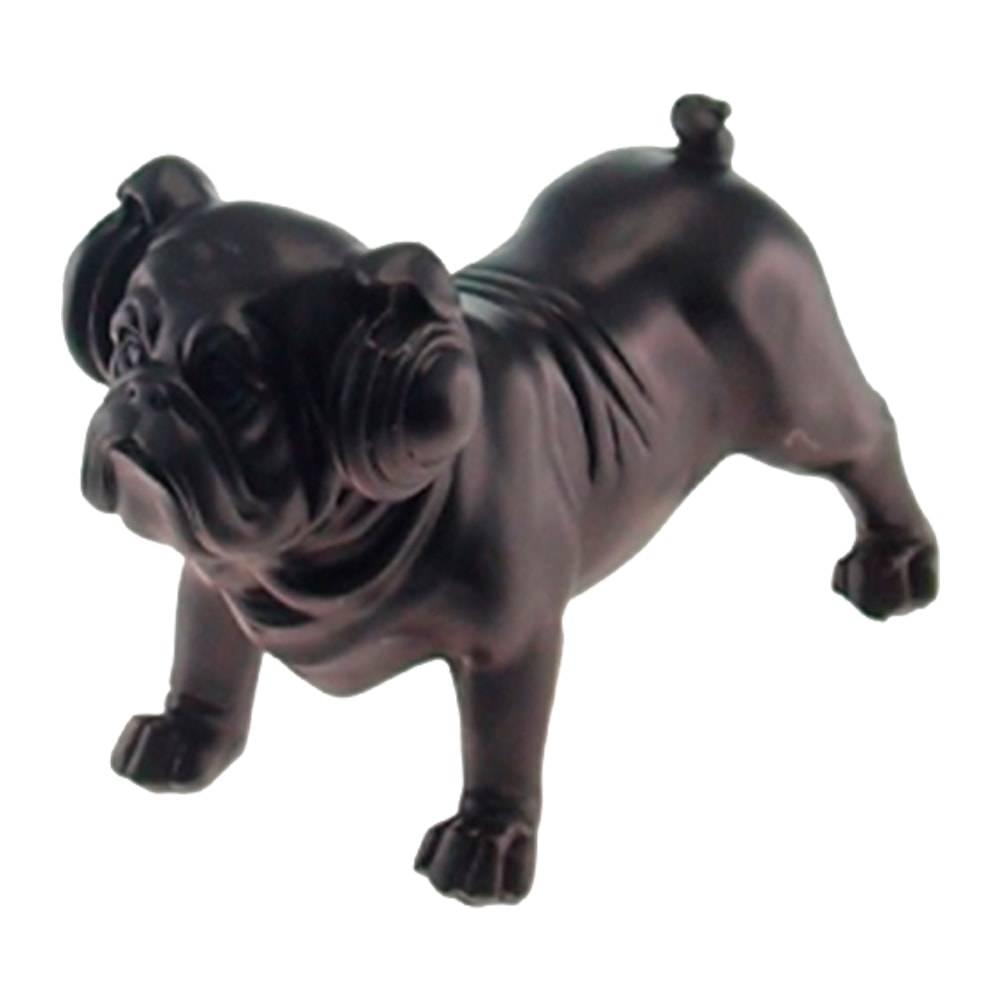 Estatueta Dog com Fone Preto Fosco em Resina - 16x11 cm