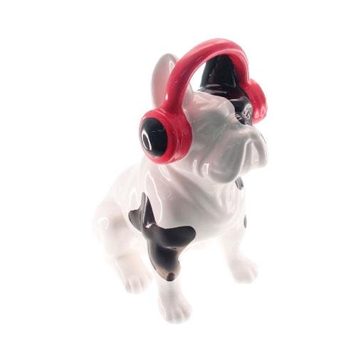 Estatueta Dog Preto/Branco com Fone em Cerâmica - 33x25 cm