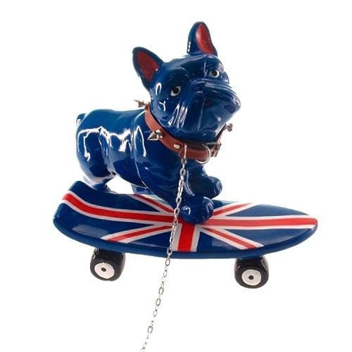Estatueta Dog Skate UK em Cerâmica - 21x13,5 cm