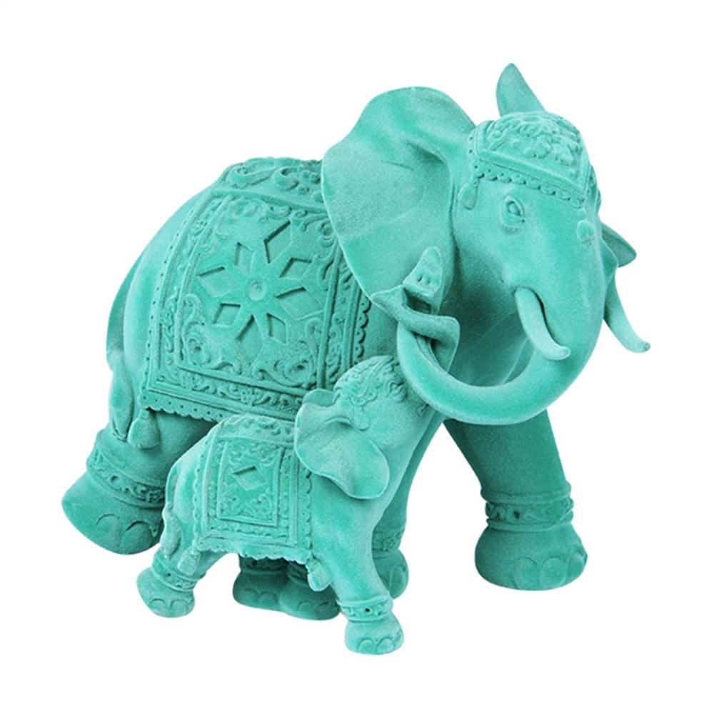 Estatueta Elefante Abracadabra Veludo em Resina - 19x17 cm