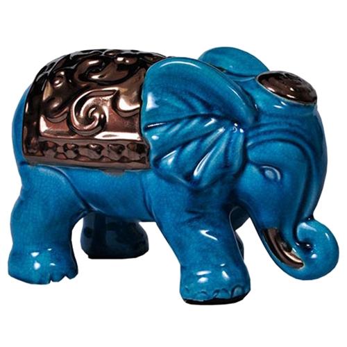 Estatueta Elefante Azul com Manto Grande em Cerâmica - 16x16 cm