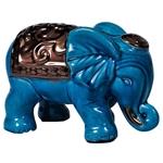 Estatueta Elefante Azul com Manto Grande em Cerâmica