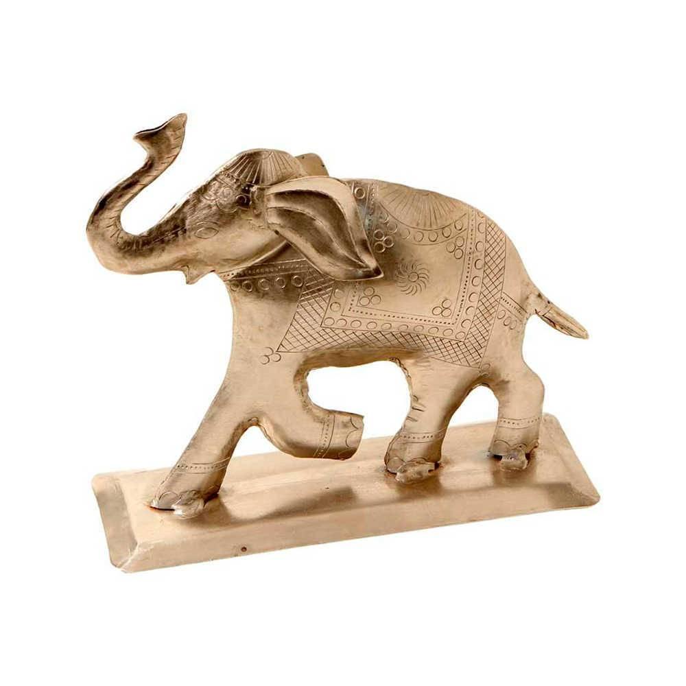 Estatueta Elefante Prata Grande em Metal Alpaca - 21x20 cm